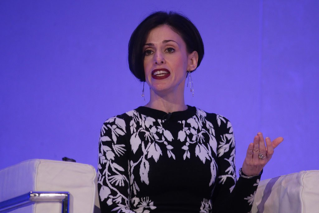 Our Fraidy Reiss speaks at the global Trust Conference in London Nov. 16. Photo credit: Thomson Reuters Foundation